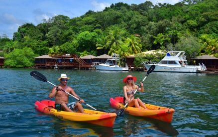 Honeymoon couple in Kayaks