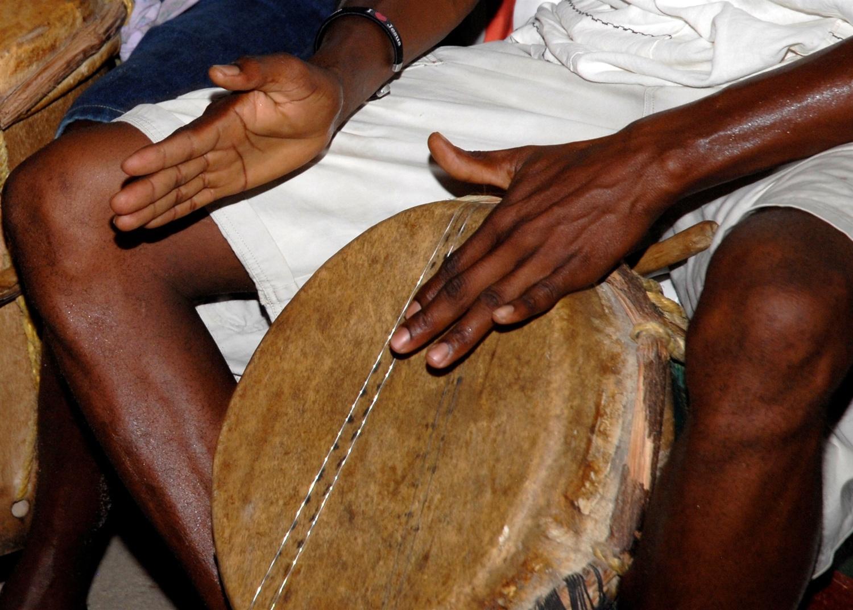 Garifuna drum beating.
